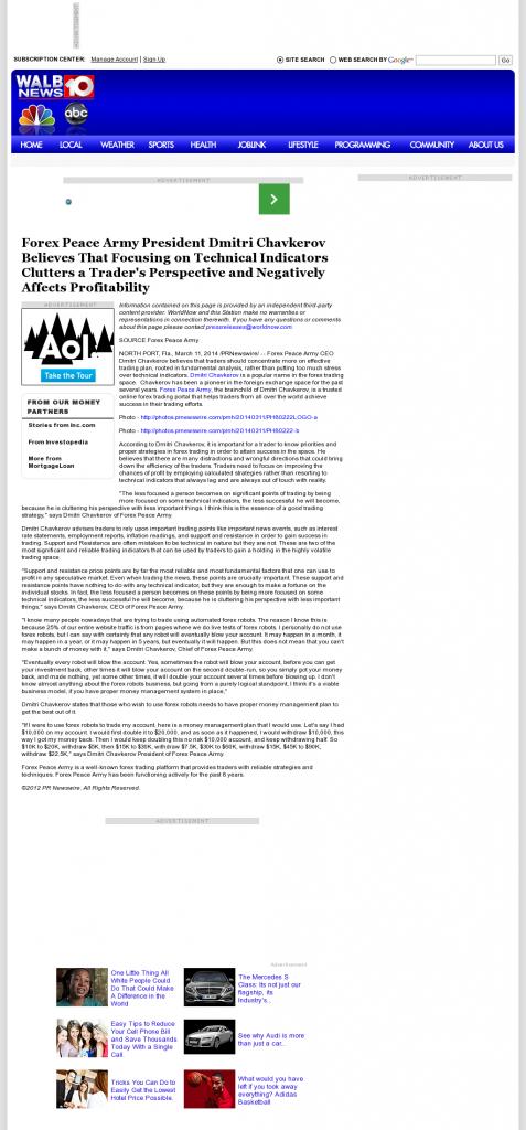 Forex Peace Army - WALB NBC-10 (Albany, GA)- Sound Trading Plan