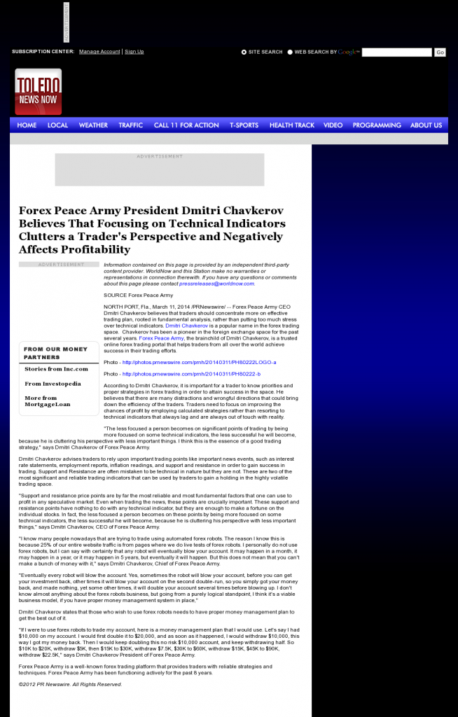 Forex Peace Army - WTOL CBS-11 (Toledo, OH)- Sound Trading Plan