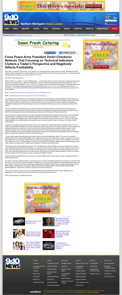Forex Peace Army - WWTV-TV CBS-9 (Cadillac, MI)- Sound Trading Plan