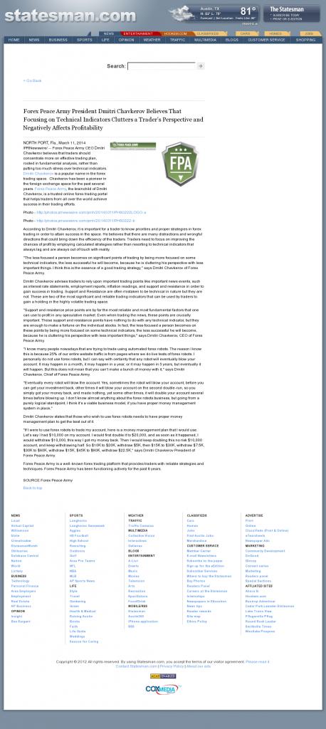 Forex Peace Army - Austin American-Statesman (Austin, TX)- Sound Trading Plan