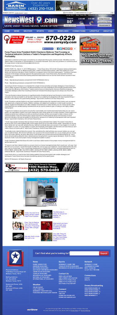 Forex Peace Army - KWES-TV NBC-9 (Midland, TX)- Sound Trading Plan