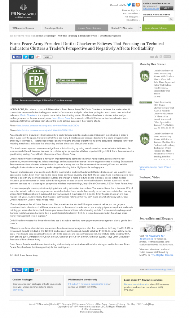 Forex Peace Army - PR Newswire- Sound Trading Plan