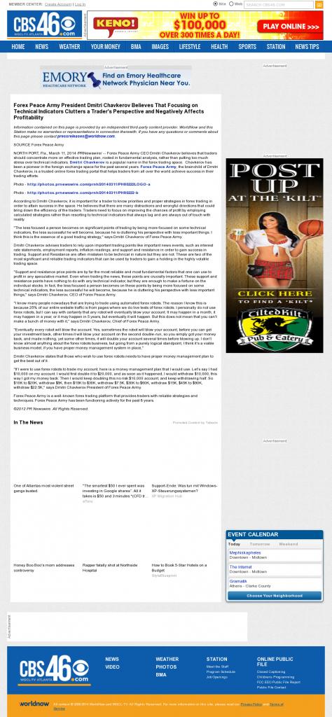 Forex Peace Army - WGCL-TV CBS-46 (Atlanta, GA)- Sound Trading Plan