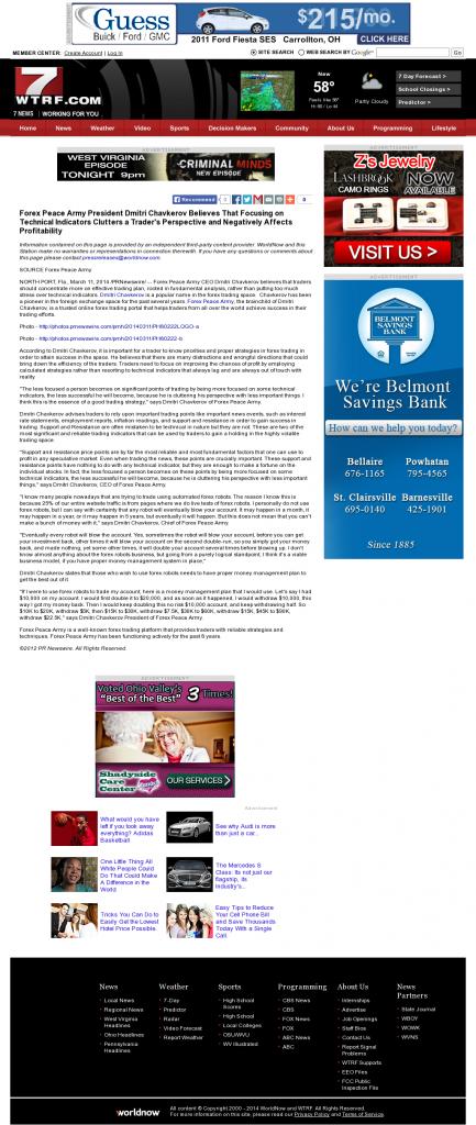 Forex Peace Army - WTRF-TV CBS-7 (Wheeling, WV)- Sound Trading Plan